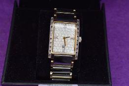 A gent's dress wrist watch by Tungsten noTU0074DM having decorative rectangular face with a black