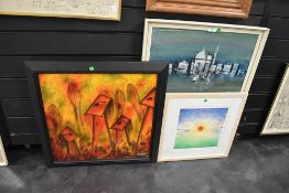 two original art works one abstract and a similar styled print