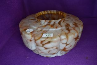 An art deco light or lamp shade having pink and orange mottled body 31cm wide