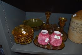 A selection of mixed vintage coloured glass, including dressing table set.