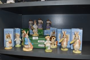 A fine selection of local Beatrix Potter figure studies thirteen in total all on brown Beswick