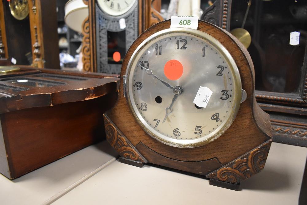 A mid century 8 day mantel clock