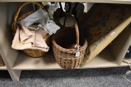 A selection of haberdashery items including loom shuttle and crewel work panel