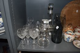 A selection of glass, including cut glass, decanters and a jug.