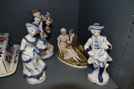 A selection of ceramic figures including Lawleys of London