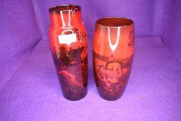 Two Royal Doulton vase having Flambe designs taller vase being AF
