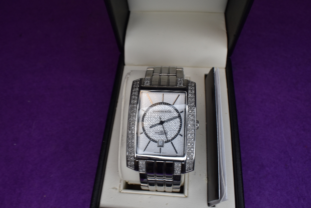 A gent's Diamond & Co wrist watch no: DC030 having a baton numeral dial to decorative rectangular