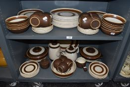 A good selection of vintage tea and dinner wares by Denby in the Russet design