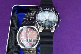 Two gent's fashion wrist watches by Pod
