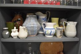 A good selection of various studio pottery Victorian and later ceramics