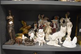 A selection of various figures including bisque Staffordshire flatback and wall mounted ducks