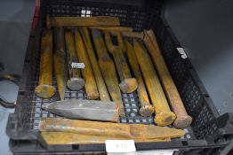 A selection of various masonry and builders stone shaping and cutting chisels