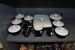 A selection of black and white kitchen wares including Denby soup dishes