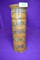 A late Victorian box wood turned spice tower for mace cloves cinnamon all spice and nutmeg general