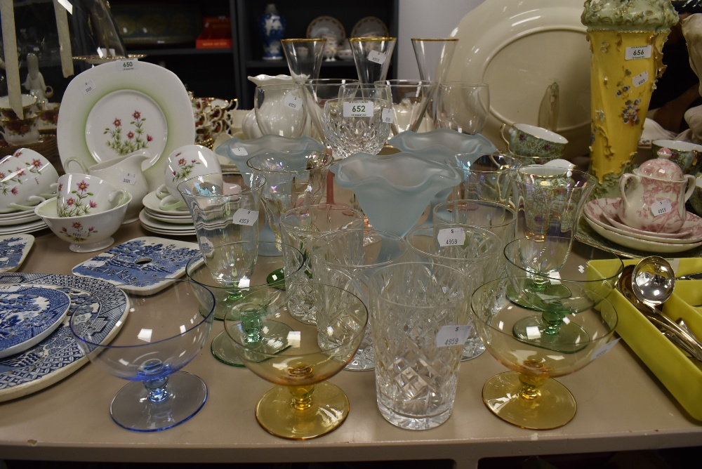 A good selection of fancy wine spirit and cocktail glasses including one Waterford wine glass also