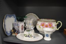 A selection of ceramics including Portmeirion and Wedgwood Clementine also Beatrix Potter figure