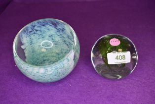 Two pieces of art glass by Caithness including mottle green bowl and limited edition Vortex 703/1000