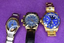 Three fashion wrist watches bearing the name Rolex, all of different designs
