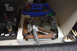 A selection of vintage fixtures fittings and wood working tools