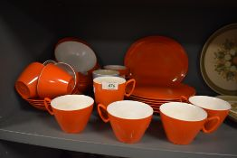 A selection of vintage camping or picnic tea and table wares by Gaydon Melmex