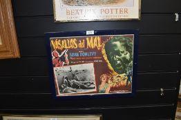 A vintage Italian lobby film poster framed and glazed Vasallos De Mal