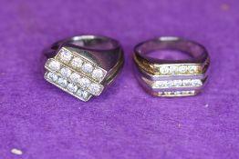 Two gent's white metal rings stamped 925 having diamante decoration, both size U