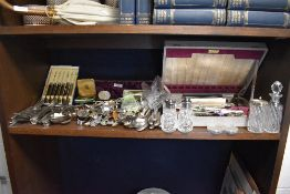A selection of cutlery flatware and collectable spoons including carving set and Community plate