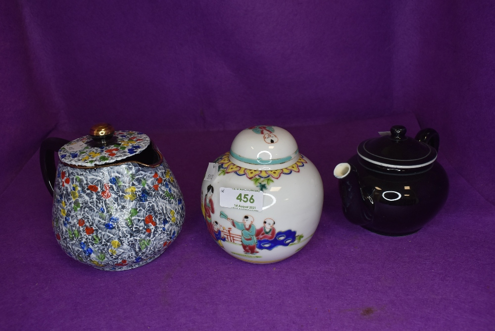 A Chinese ginger jar and two small sized tea pots