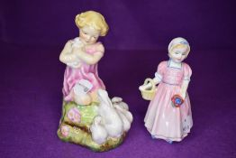 Two ceramic figure studies including pink stamp Royal Worcester My Favourite and tinkle bell