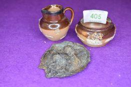 Two miniature ceramics by Royal Doulton Lambeth a squat vase and a HM silver rim small jug