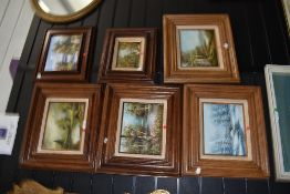 Six original oil paintings on canvas with heavy wood frames all depicting various landscapes