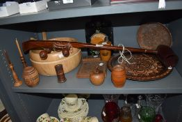 A selection of wood treen wares including dishes and bowls also mahogany instrument possibly