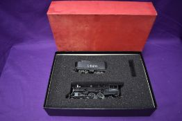 A Key Imports made by Dongjin HO scale AT & SF 4-4-2 Loco & Tender 1420, in original box