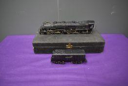 A American Brass possibly Tenshodo, HO scale 4-6-6-4 Santa Fe Loco & Tender 3950 with non original