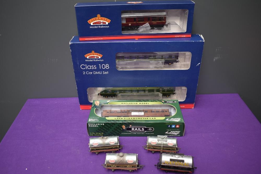 A Bachmann 00 gauge Class 108 Two Car DMU, boxed 32-900B, a Bachmann 00 gauge Inspection Saloon Car,