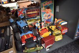 A box of mixed toys including Solido London Buses, boxed, Tonka Tractor, Fu Shin Toys Mr Bob, boxed,