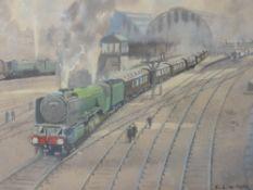A watercolour, Ebenezer John Woods Prior, train interest, Yorkshire Pullman leaving Kings Cross