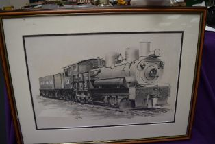 A framed pencil sketch, G S Cooper, Union Pacific 61 Locomotive & Tender, signed and dated 73,