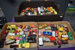 Three boxes of playworn diecasts including Matchbox Lesney, Corgi, Models of Yesteryear, Matchbox