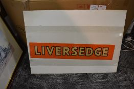 A Railway Station unused Name Strip for Liversedge having yellow lettering with black letter