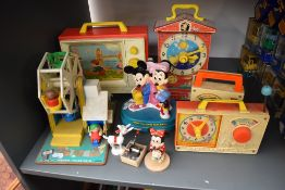 Five Fisher Price Childrens Toys including London Bridge TV, Teaching Clock, Hickory Dickory Dock