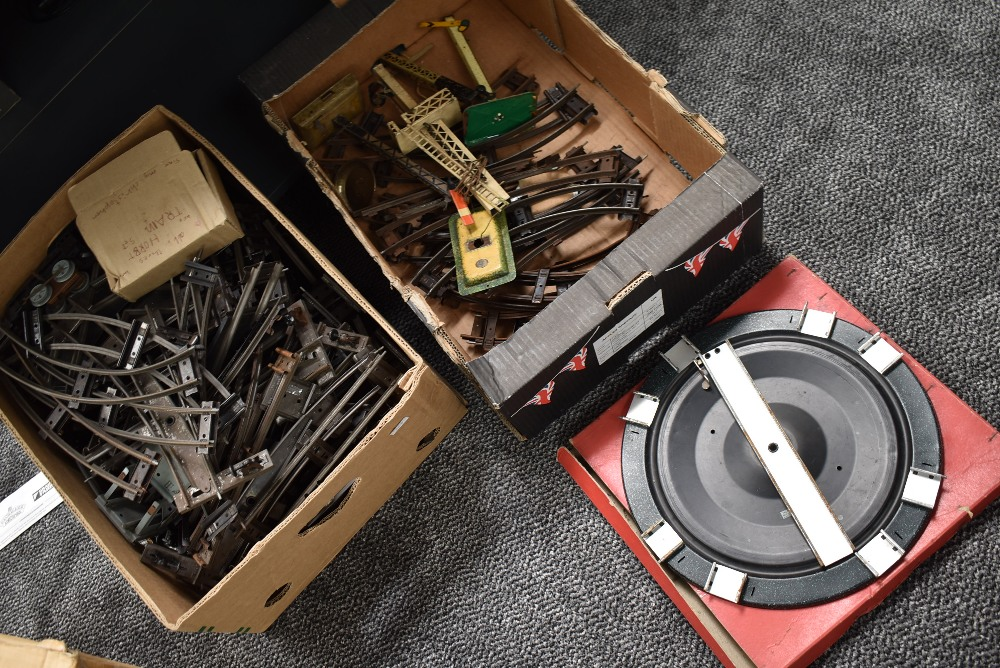 Two boxes of 0 gauge Track, Points etc along with a Turntable in original box