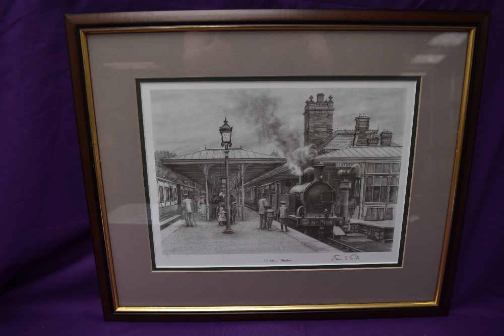 A framed print after J S Gibb, Ulverston Station, bearing signature, 35cm x 42cm including frame