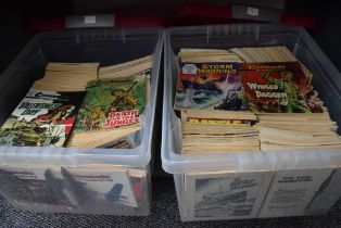 Two boxes of approx 200 Commando Comics - the oldest issue being #375 including other comics,