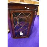 A 19th Century mahogany corner display cabinet inlaid detailing to door, approx width 77cm