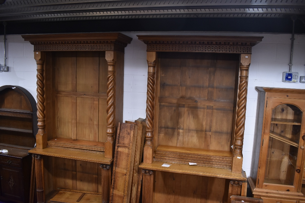 A near pair of 19th Century and later golden oak bookcases, having Corinthian column to base and