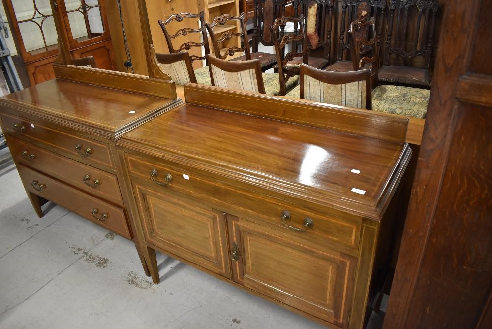 An Edwardian mahogany dressing table and matching washstand , both having satinwood inlay