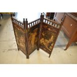 A Victorian stained frame folding fire screen or small modesty screen