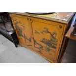 A vintage Japanesque side cabinet, width approx. 107cm, depth approx. 43cm