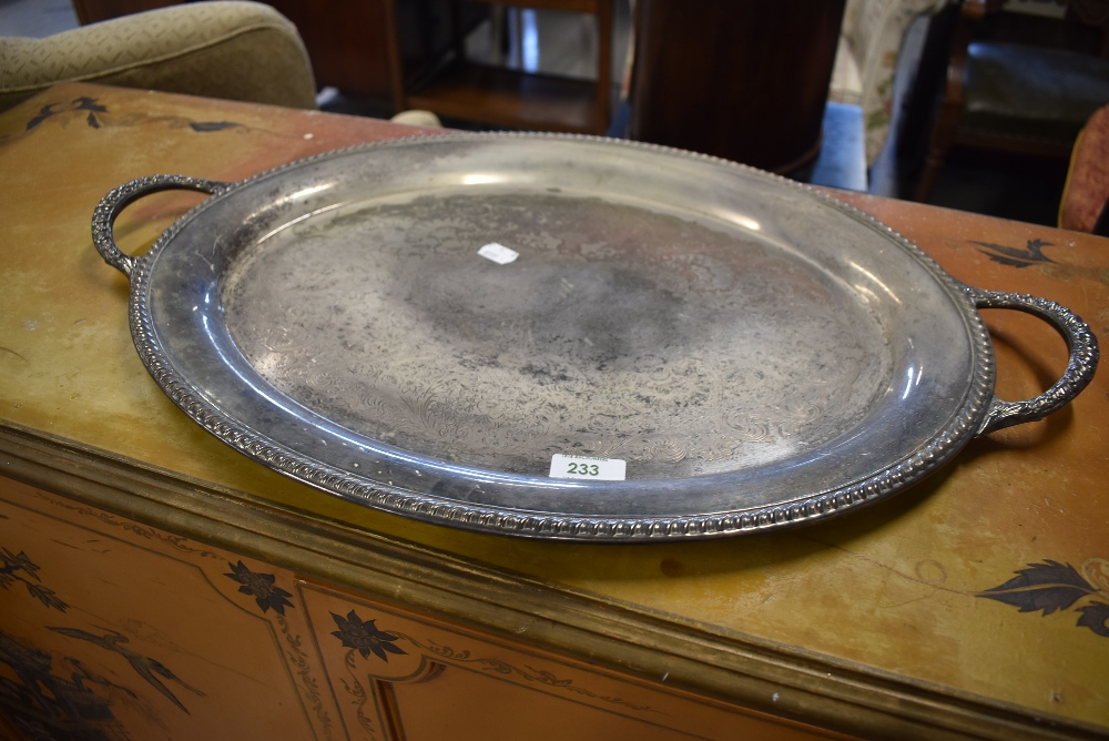 A two handled silver plated tray